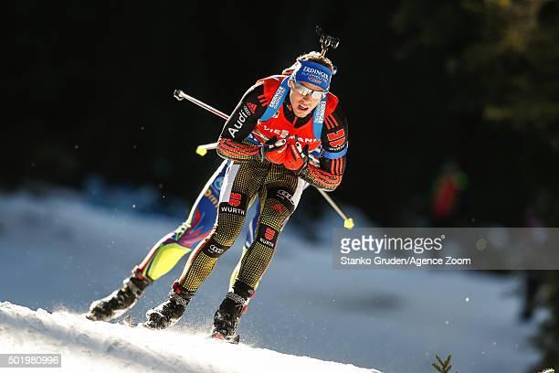 Simon Schempp of Germany takes 1st place during the IBU Biathlon World Cup Men's and Women's Pursuit on December 19 2015 in Pokljuka Slovenia