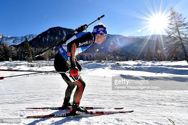 Simon Schempp of Germany takes 1st place during the IBU Biathlon World Cup Men's Sprint on January 22 2016 in AntholzAnterselva Italy