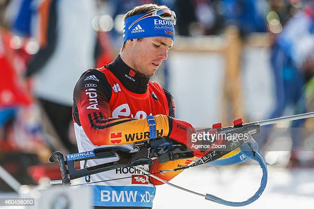 Simon Schempp of Germany takes 2nd place during the IBU Biathlon World Cup Men's and Women's Pursuit on December 14 2014 in Hochfilzen Austria
