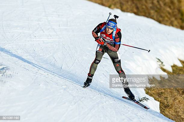Simon Schempp of Germany takes 2nd place during the IBU Biathlon World Cup Men's and Women's Pursuit on December 12 2015 in Hochfilzen Austria