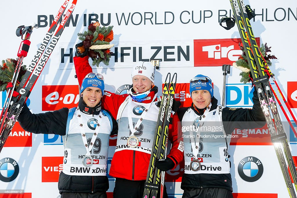 <a gi-track='captionPersonalityLinkClicked' href=/galleries/search?phrase=Simon+Schempp&family=editorial&specificpeople=6479583 ng-click='$event.stopPropagation()'>Simon Schempp</a> of Germany takes 2nd place Johannes Thingnes Boe of Norway takes1st place,<a gi-track='captionPersonalityLinkClicked' href=/galleries/search?phrase=Andreas+Birnbacher&family=editorial&specificpeople=2092383 ng-click='$event.stopPropagation()'>Andreas Birnbacher</a> of Germany takes 3rd place during the IBU Biathlon World Cup Men's and Women's Sprint on December 12, 2014 in Hochfilzen, Austria.