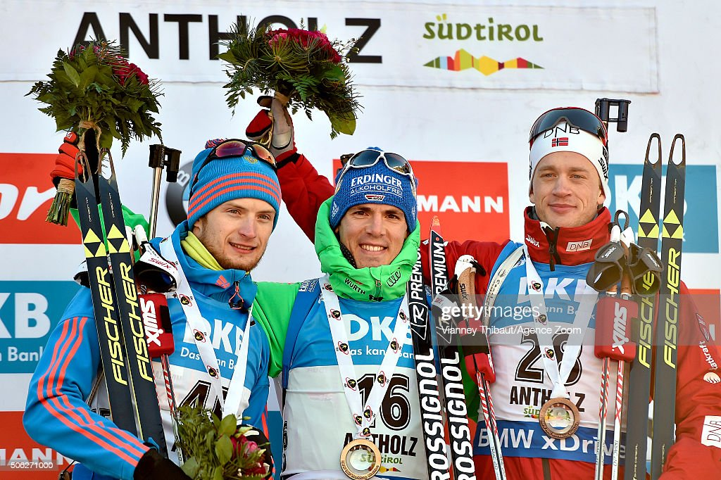 <a gi-track='captionPersonalityLinkClicked' href=/galleries/search?phrase=Simon+Schempp&family=editorial&specificpeople=6479583 ng-click='$event.stopPropagation()'>Simon Schempp</a> of Germany takes first place, Maxim Tsvetkov of Russia takes 2nd place, <a gi-track='captionPersonalityLinkClicked' href=/galleries/search?phrase=Tarjei+Boe&family=editorial&specificpeople=6614833 ng-click='$event.stopPropagation()'>Tarjei Boe</a> of Norway takes 3rd place during the IBU Biathlon World Cup Men's Sprint on January 22, 2016 in Antholz-Anterselva, Italy.