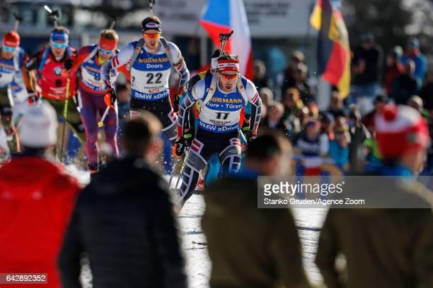 Simon Schempp of Germany wins the gold medal during the IBU Biathlon World Championships Men's and Women's Mass Start on February 19 2017 in...