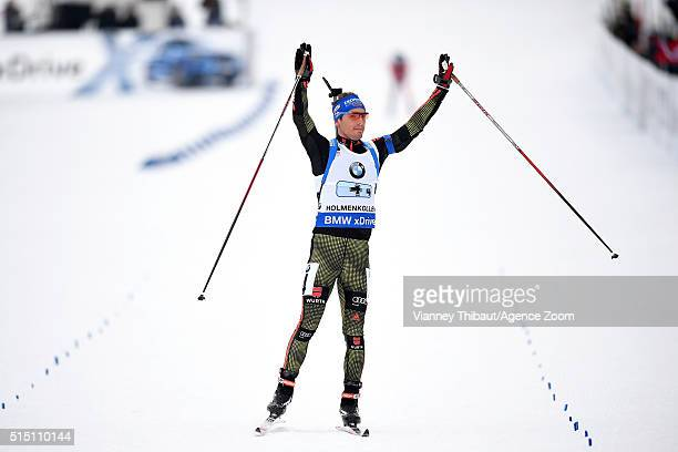 Simon Schempp of Germany wins the silver medal during the IBU Biathlon World Championships Men's Relay on March 12 2016 in Oslo Norway