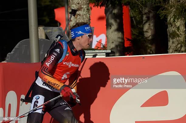 Simon Schempp on the course during Biathlon World Cup 125km men pursuit on Pokljuka 2014
