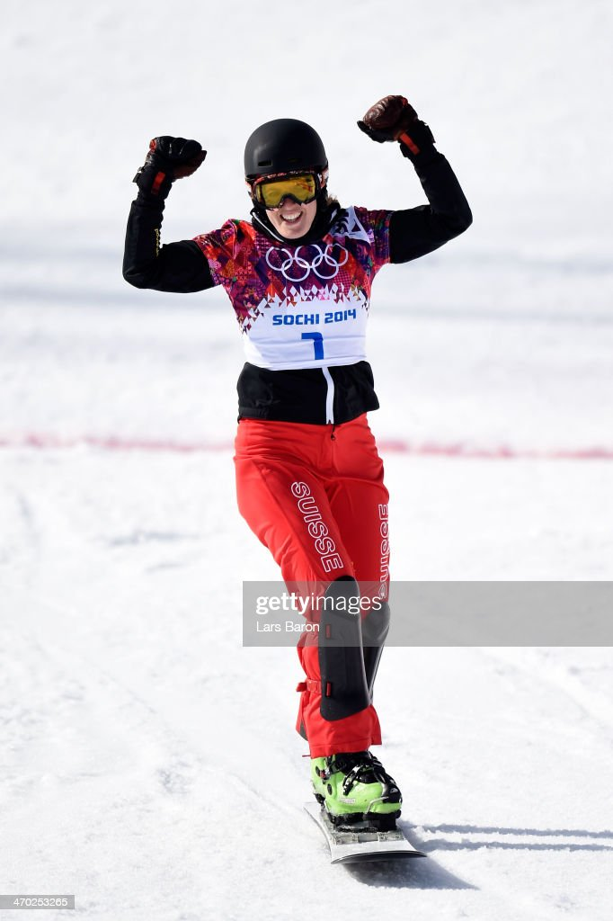 <a gi-track='captionPersonalityLinkClicked' href=/galleries/search?phrase=Simon+Schoch&family=editorial&specificpeople=869279 ng-click='$event.stopPropagation()'>Simon Schoch</a> of Switzerland reacts during the Snowboard Men's Parallel Giant Slalom Quarterfinals on day twelve of the 2014 Winter Olympics at Rosa Khutor Extreme Park on February 19, 2014 in Sochi, Russia.