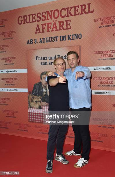 Simon Schwarz and Sebastian Bezzel during the 'Griessnockerlaffaere' premiere at Mathaeser Filmpalast on August 1 2017 in Munich Germany