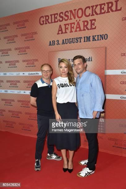 Simon Schwarz Lisa Maria Potthoff and Sebastian Bezzel during the 'Griessnockerlaffaere' premiere at Mathaeser Filmpalast on August 1 2017 in Munich...