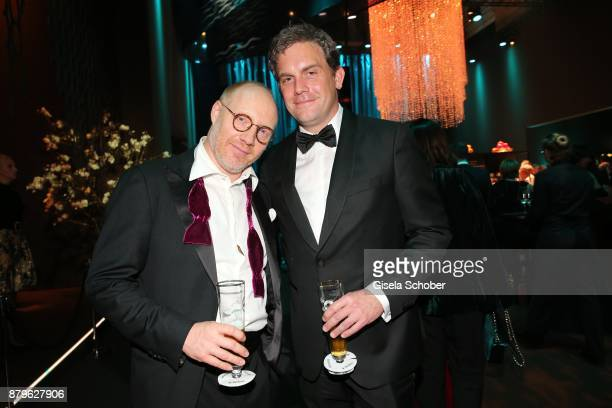 Simon Schwarz Sebastian Bezzel during the Bambi Awards 2017 after party at Atrium Tower Stage Theater on November 16 2017 in Berlin Germany