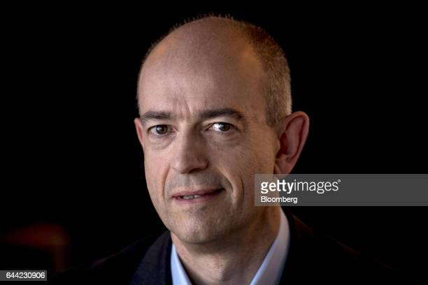 Simon Segars chief executive officer of ARM Holdings Plc sits for a photograph after a Bloomberg Technology television interview in San Francisco...