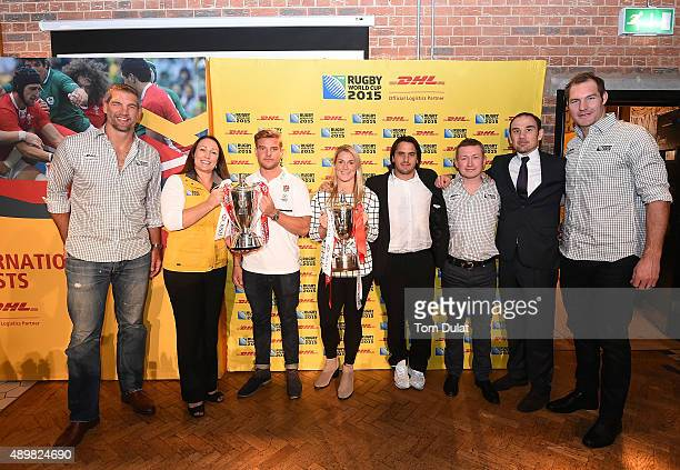 Simon Shaw of England Fiona Taag Global Sponsorship Manager of DHL Express Tom Mitchell Captain of England Sevens Rachael Burford of England Women...