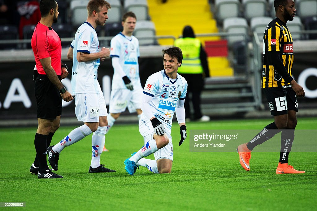 Simon Skrabb of Gefle IF looks looks dejected during the Allsvenskan match between BK Hacken and Gefle IF at Bravida Arena on April 28, 2016 in Gothenburg, Sweden.