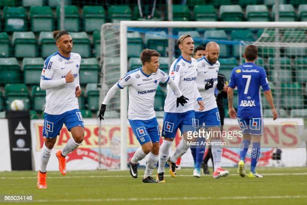 Simon Skrabb of IFK Norrkoping celebrates after scoring during the Allsvenskan match between GIF Sundsvall and IFK Norrkoping at Idrottsparken on...