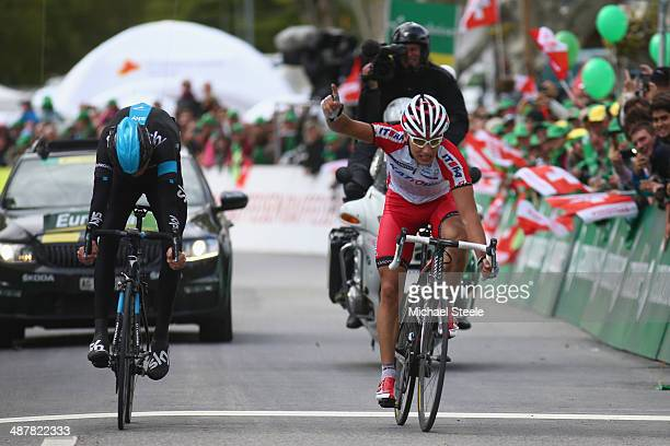 Simon Spilak of Slovakia and Team Katusha celebrates winning from Chris Froome of Great Britain and Team Sky during stage three of the Tour de...
