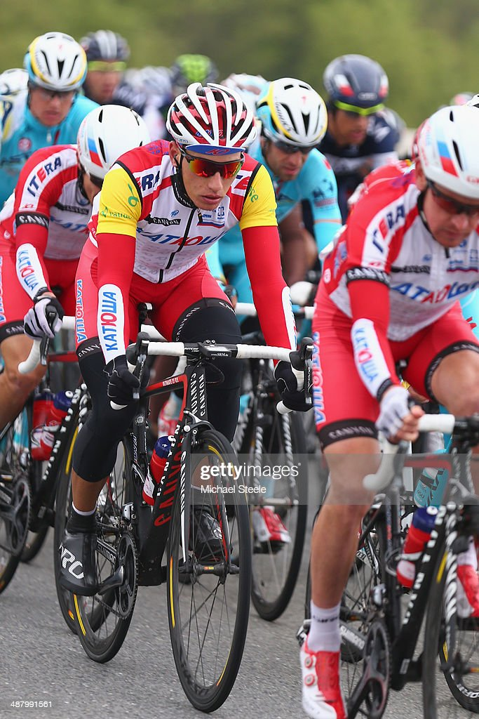 Simon Spilak of Slovenia and Team Katusha and race leader during stage four of the Tour de Romandie from Fribourg to Fribourg on May 3, 2014 in Fribourg, Switzerland.