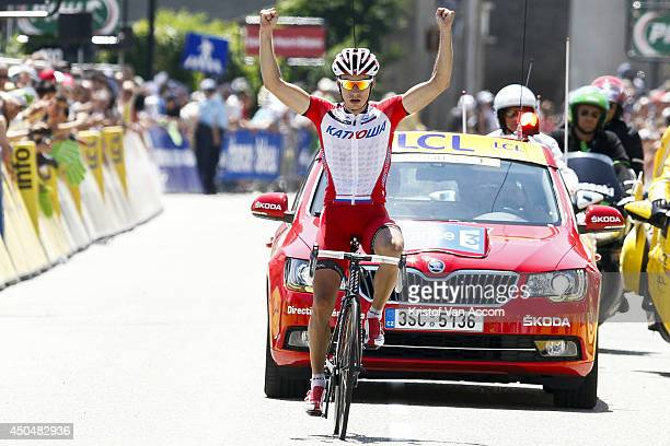 Simon Spilak of Slovenia and Team Katusha celebrates as he wins the fifth stage of the Criterium du Dauphine on June 12 2014 between Sisteron and La...