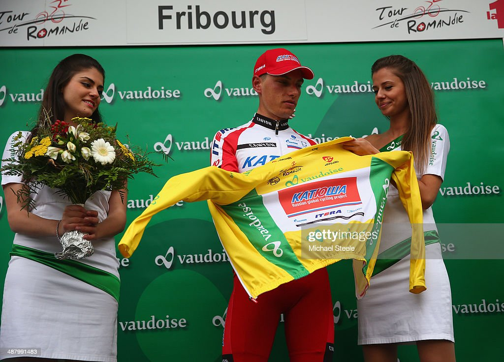 Simon Spilak of Slovenia and Team Katusha retains the race leaders yellow jersey after stage four of the Tour de Romandie from Fribourg to Fribourg on May 3, 2014 in Fribourg, Switzerland.