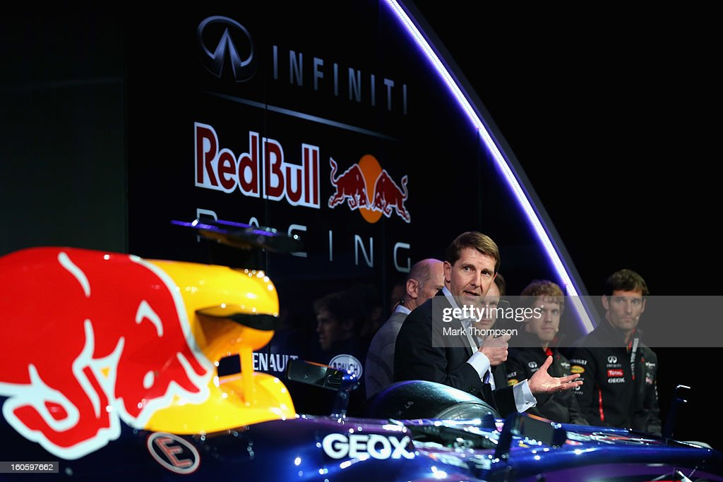 Simon Sproule, Infiniti Corporate Vice-President Global Marketing talks to the guests during the Infiniti Red Bull Racing RB9 launch on February 3, 2013 in Milton Keynes, England.