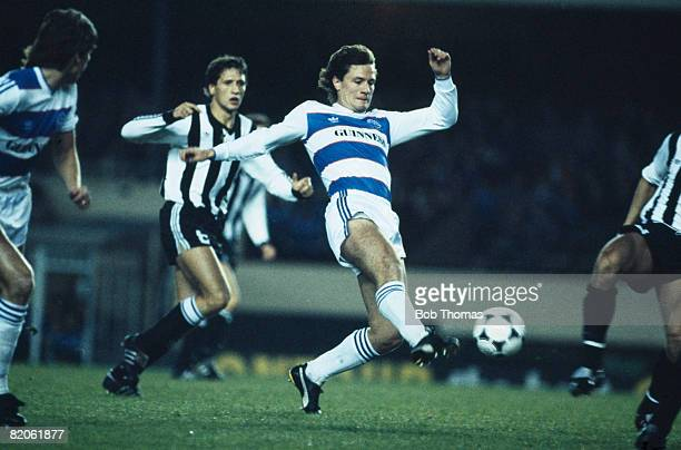 Simon Stainrod in action for Queens Park Rangers against Partizan Belgrade in the UEFA Cup 2nd round 1st leg October 24th 1984 This match was played...