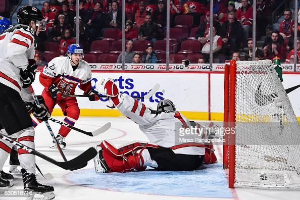 Simon Stransky of Team Czech Republic scores on goaltender Connor Ingram of Team Canada during the 2017 IIHF World Junior Championship quarterfinal...
