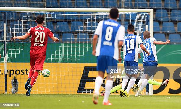 Simon Terodde of Bochum scores his teams first goal during the DFB Cup first round match between VfL Bochum and VfB Stuttgart at Rewirpower Stadium...