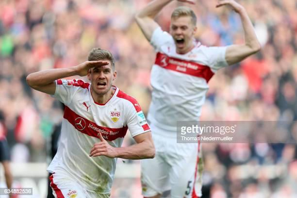 Simon Terodde of Stuttgart celebrates his goal during the Second Bundesliga match between VfB Stuttgart and SV Sandhausen at MercedesBenz Arena on...