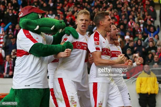 Simon Terodde of Stuttgart celebrates his goal with his team mates Daniel Ginczek Timo Baumgartl and mascott Fritzle during the Second Bundesliga...