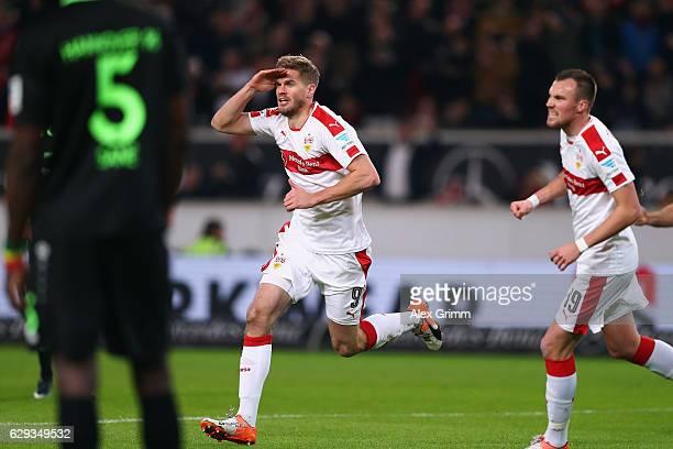 Simon Terodde of Stuttgart celebrates his team's first goal during the Second Bundesliga match between VfB Stuttgart and Hannover 96 at MercedesBenz...