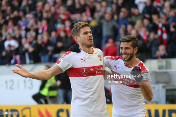 Simon Terodde of Stuttgart celebrates scoring his teams goal with teamates during the Second Bundesliga match between VfB Stuttgart and 1 FC...