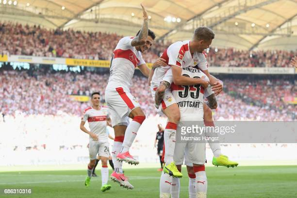 Simon Terodde of Stuttgart celebrates scoring the 2nd team goal with his team mate Daniel Ginczek during the Second Bundesliga match between VfB...