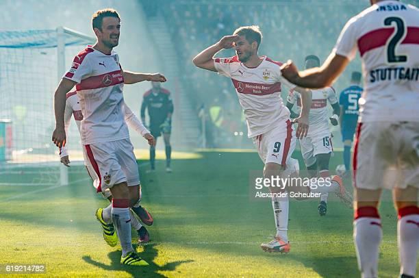 Simon Terodde of Stuttgart celebrates the second goal for his team with Christian Gentner of Stuttgart during the Second Bundesliga match between...