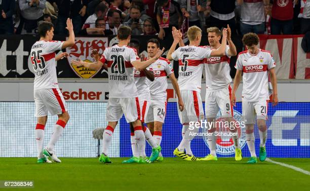 Simon Terodde of Stuttgart celebrates the second goal for his team with his teammates during the Second Bundesliga match between VfB Stuttgart and 1...