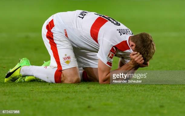 Simon Terodde of Stuttgart celebrates victory during the Second Bundesliga match between VfB Stuttgart and 1 FC Union Berlin at MercedesBenz Arena on...