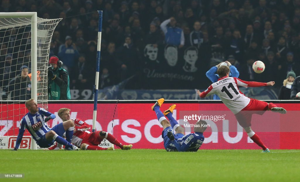 Simon Terodde (R) of Union scores the first goal during the Second Bundesliga match between Hertha BSC Berlin and 1.FC Union Berlin at Olympic Stadium on February 11, 2013 in Berlin, Germany.