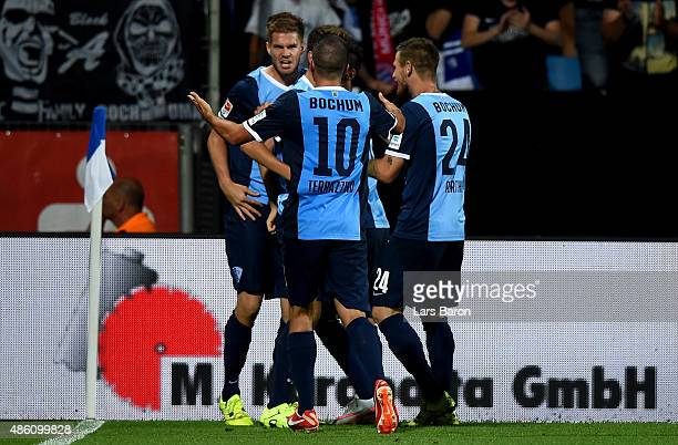 Simon Terodde of VfL Bochum celebrates after scoring his teams first goal during the Second Bundesliga match between VfL Bochum and 1860 Muenchen at...