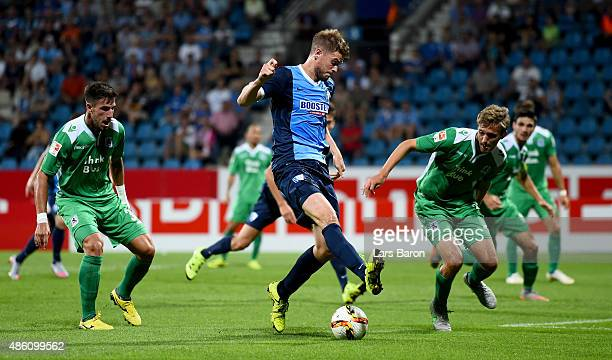 Simon Terodde of VfL Bochum kicks the ball during the Second Bundesliga match between VfL Bochum and 1860 Muenchen at Rewirpower Stadium on August 31...