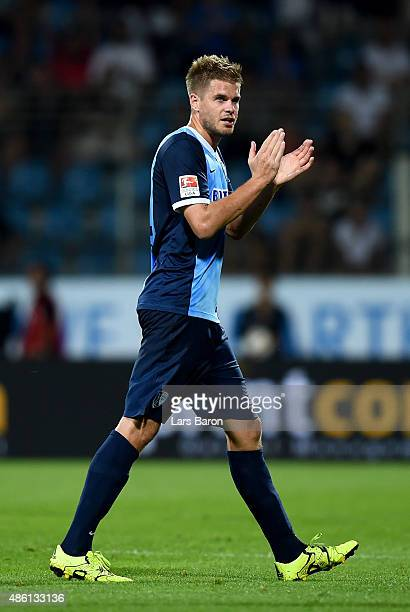 Simon Terodde of VfL Bochum reacts during the Second Bundesliga match between VfL Bochum and 1860 Muenchen at Rewirpower Stadium on August 31 2015 in...