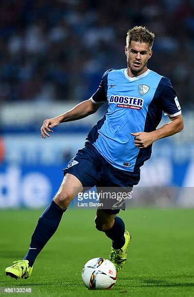 Simon Terodde of VfL Bochum runs with the ball during the Second Bundesliga match between VfL Bochum and 1860 Muenchen at Rewirpower Stadium on...