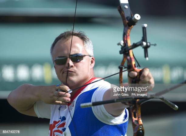 Simon Terry of the GB's Archery Team during a practice session in Macau China