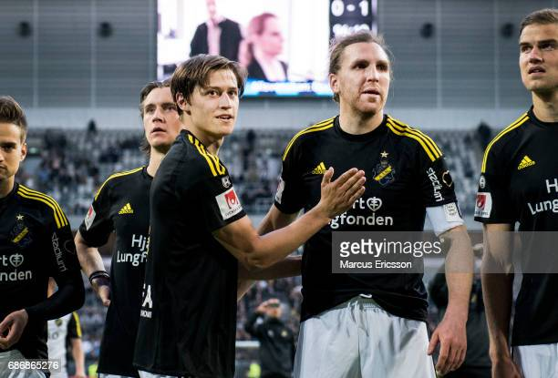 Simon Thern and NilsEric Johansson of AIK after the victory in the Allsvenskan match between Djurgardens IF and AIK at Tele2 Arena on May 22 2017 in...