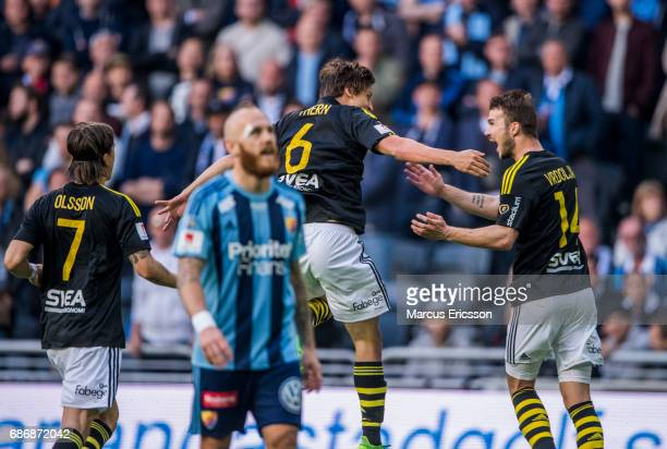 Simon Thern of AIK celebrates after scoring 10 during the Allsvenskan match between Djurgardens IF and AIK at Tele2 Arena on May 22 2017 in Stockholm...