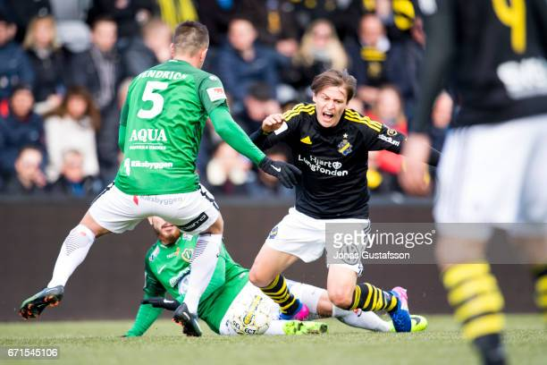 Simon Thern of AIK reacts during the Allsvenskan match between Jonkopings Sodra IF and AIK at Stadsparksvallen on April 22 2017 in Jonkoping Sweden