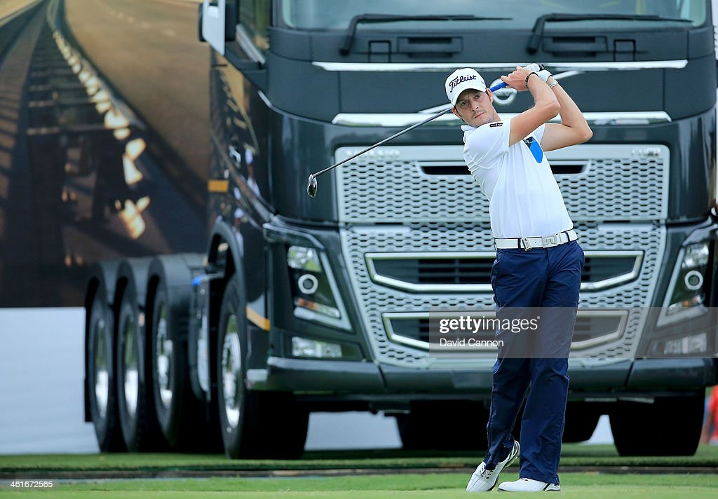 <a gi-track='captionPersonalityLinkClicked' href=/galleries/search?phrase=Simon+Thornton&family=editorial&specificpeople=3965505 ng-click='$event.stopPropagation()'>Simon Thornton</a> of Ireland plays his tee shot at the par 4, 18th hole during the second round of the 2014 Volvo Golf Champions at Durban Country Club on January 10, 2014 in Durban, South Africa.