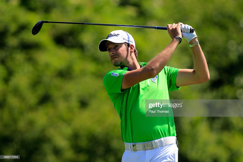 <a gi-track='captionPersonalityLinkClicked' href=/galleries/search?phrase=Simon+Thornton&family=editorial&specificpeople=3965505 ng-click='$event.stopPropagation()'>Simon Thornton</a> of Ireland tees off during the Lyoness Open day three at the Diamond Country Club on June 7, 2014 in Atzenbrugg, Austria.