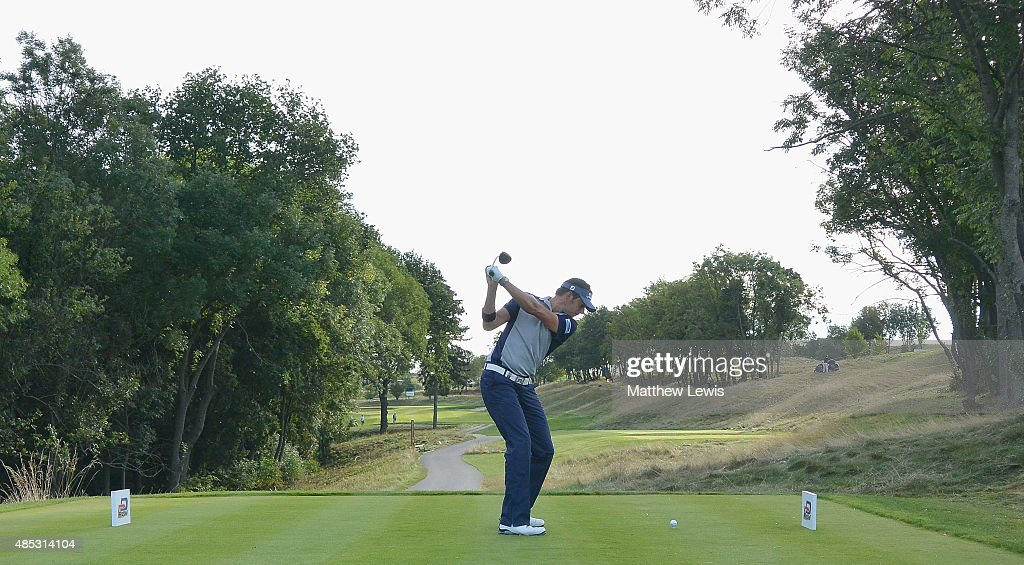 <a gi-track='captionPersonalityLinkClicked' href=/galleries/search?phrase=Simon+Thornton&family=editorial&specificpeople=3965505 ng-click='$event.stopPropagation()'>Simon Thornton</a> of Ireland tees off o the 4th hole during day one of the D+D Real Czech Masters at Albatross Golf Resort on August 27, 2015 in Prague, Czech Republic.