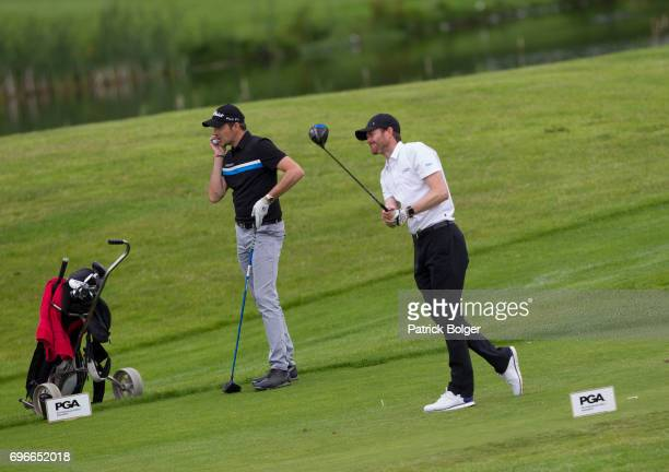 Simon Thornton of Simon Thornton Golf and Andrew Turner from Knaresborough Golf Club during the Titleist and Footjoy PGA Professional Championship at...