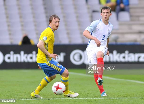 Simon Tibbling Ben Chilwell during the UEFA European Under21 match between Sweden and England at Kolporter Arena on June 16 2017 in Kielce Poland