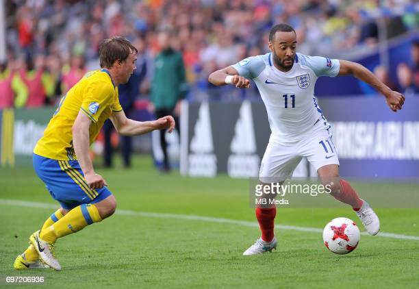 Simon Tibbling Nathan Redmond during the UEFA European Under21 match between Sweden and England at Kolporter Arena on June 16 2017 in Kielce Poland