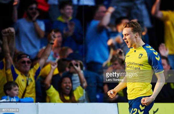 Simon Tibbling of Brondby IF celebrates after scoring their first goal during the Danish Alka Superliga match between Brondby IF and FC Copenhagen at...