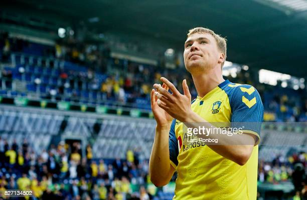 Simon Tibbling of Brondby IF celebrates after the Danish Alka Superliga match between Brondby IF and FC Copenhagen at Brondby Stadion on August 6...
